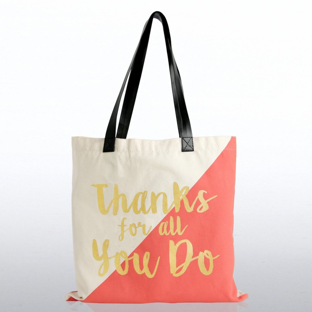 View larger image of Metallic Tote Bag - Thanks for all You Do