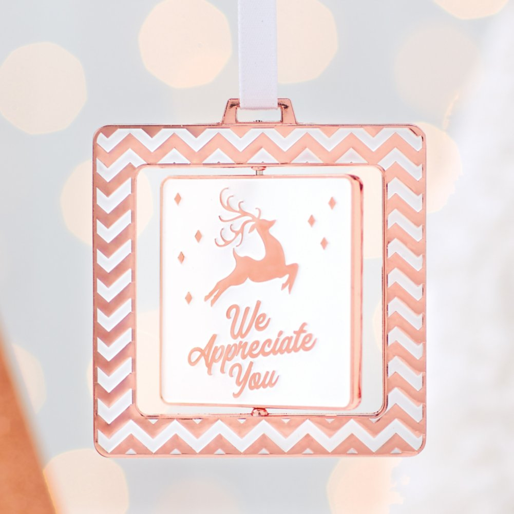 View larger image of Spinner Ornament - We Appreciate You - Copper Reindeer