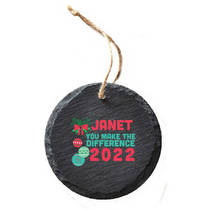 Modern Slate Holiday Ornament - Round