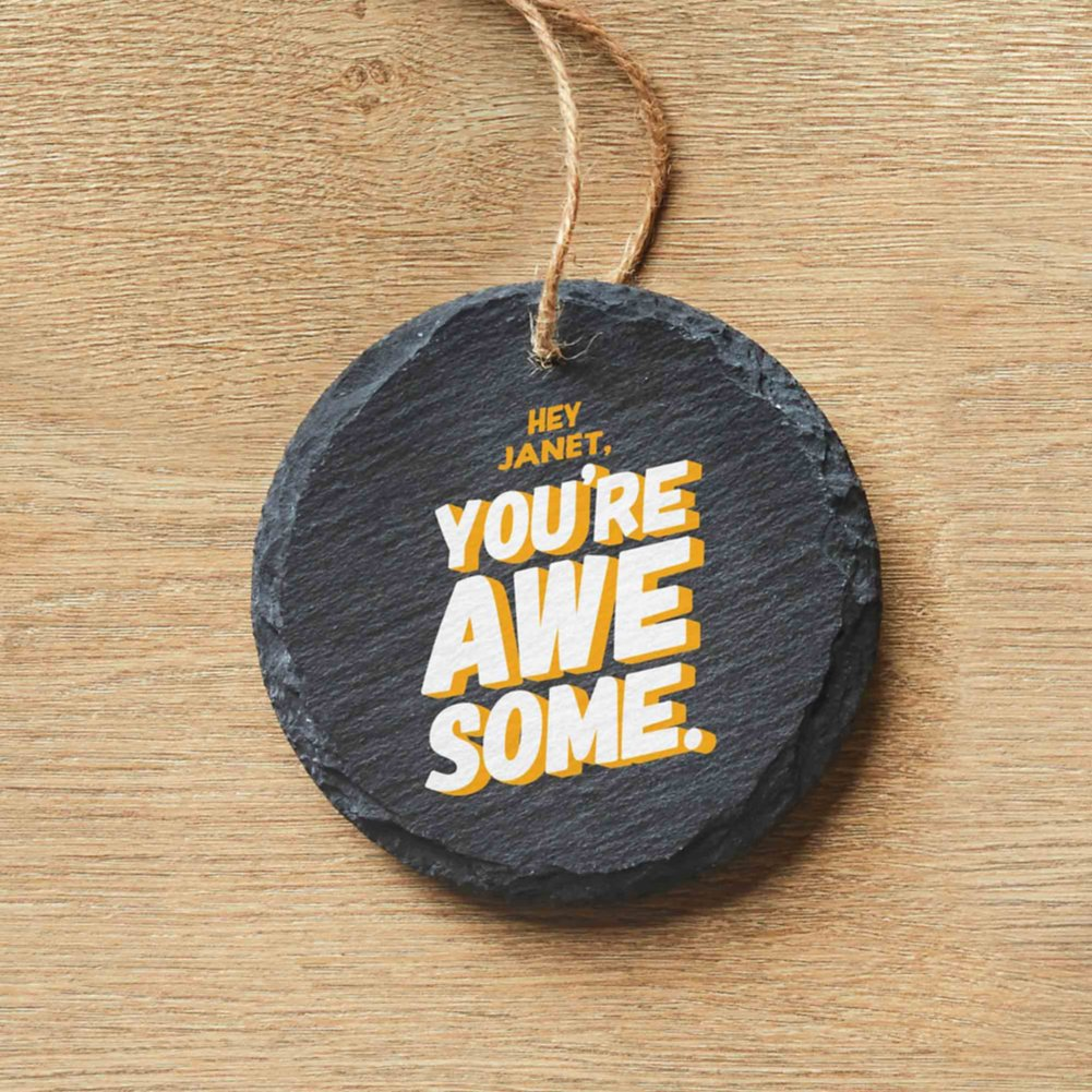 View larger image of Custom Collection: Modern Slate Holiday Ornament - Round