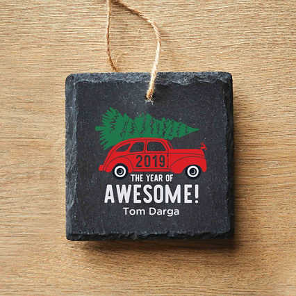Modern Slate Holiday Ornament - Square