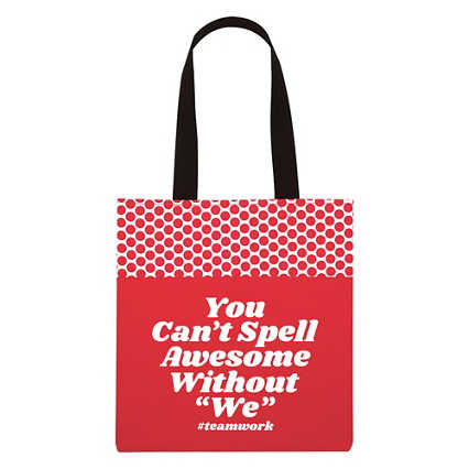 "Value Polka Dot Totes - You Can't Spell Awesome Without ""We"""