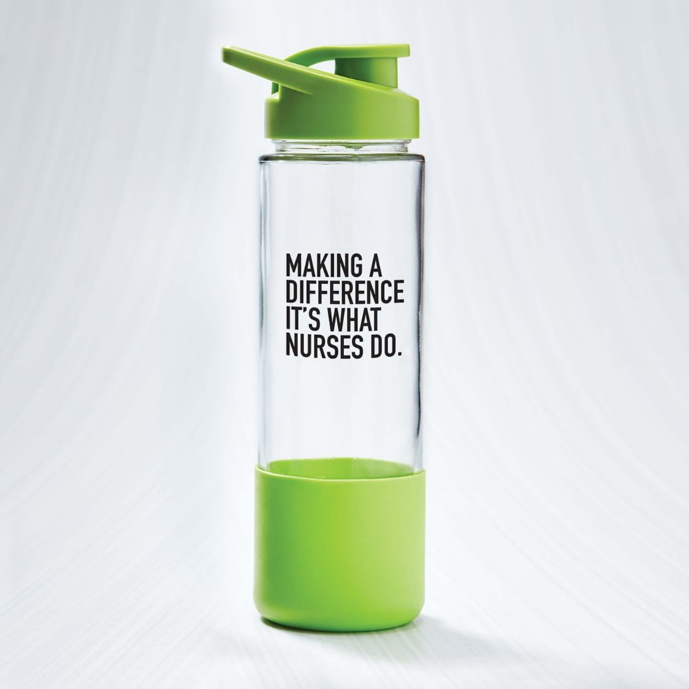 View larger image of Color Grip Glass Water Bottle - Making a Difference