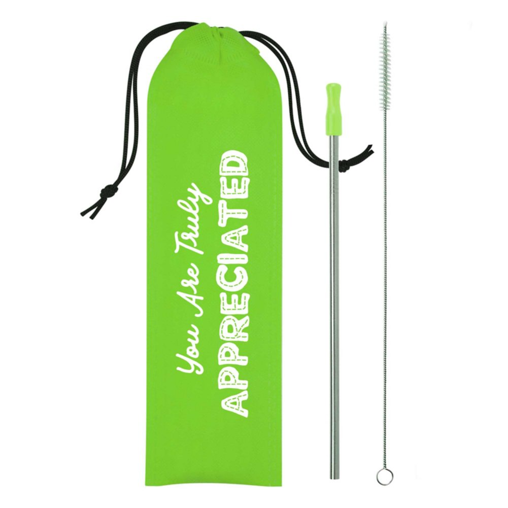 View larger image of Keepin' It Green Stainless Steel Straw Pack- Appreciated