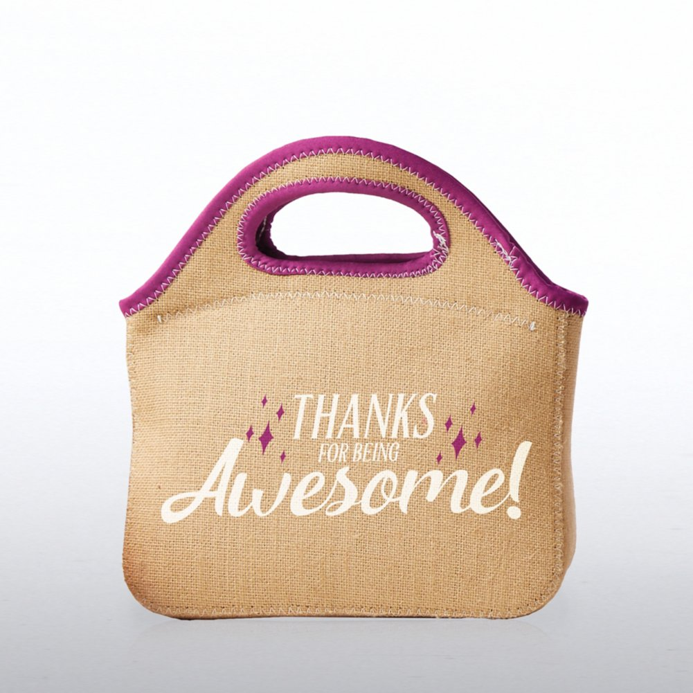 View larger image of Burlap Cooler Tote - Thanks For Being Awesome!
