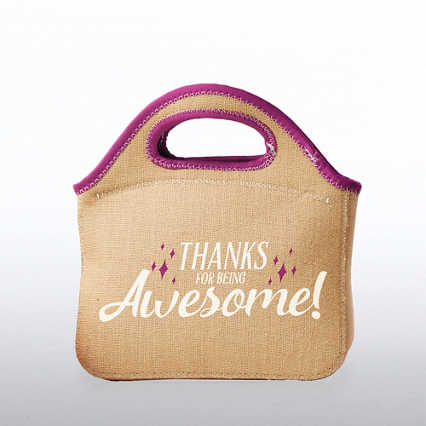 Burlap Cooler Tote - Thanks For Being Awesome!