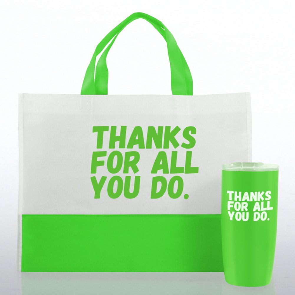 View larger image of Tumbler and Tote Value Gift Set - Thanks For All You Do