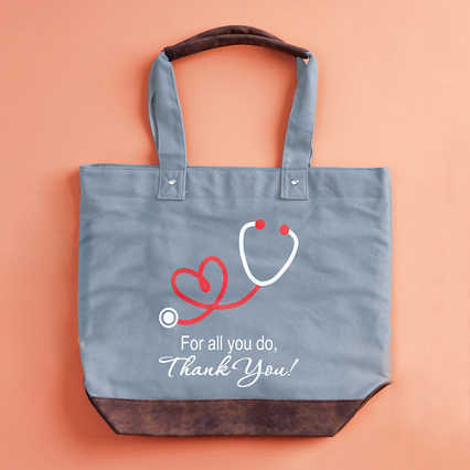 Uptown Vegan Leather Tote Bag - Thank You