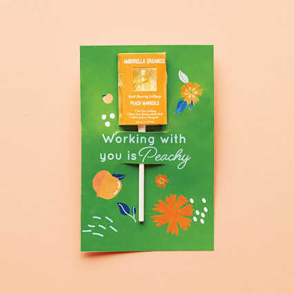 Amborella Organics Lollipop Greeting Card - Peach Marigold
