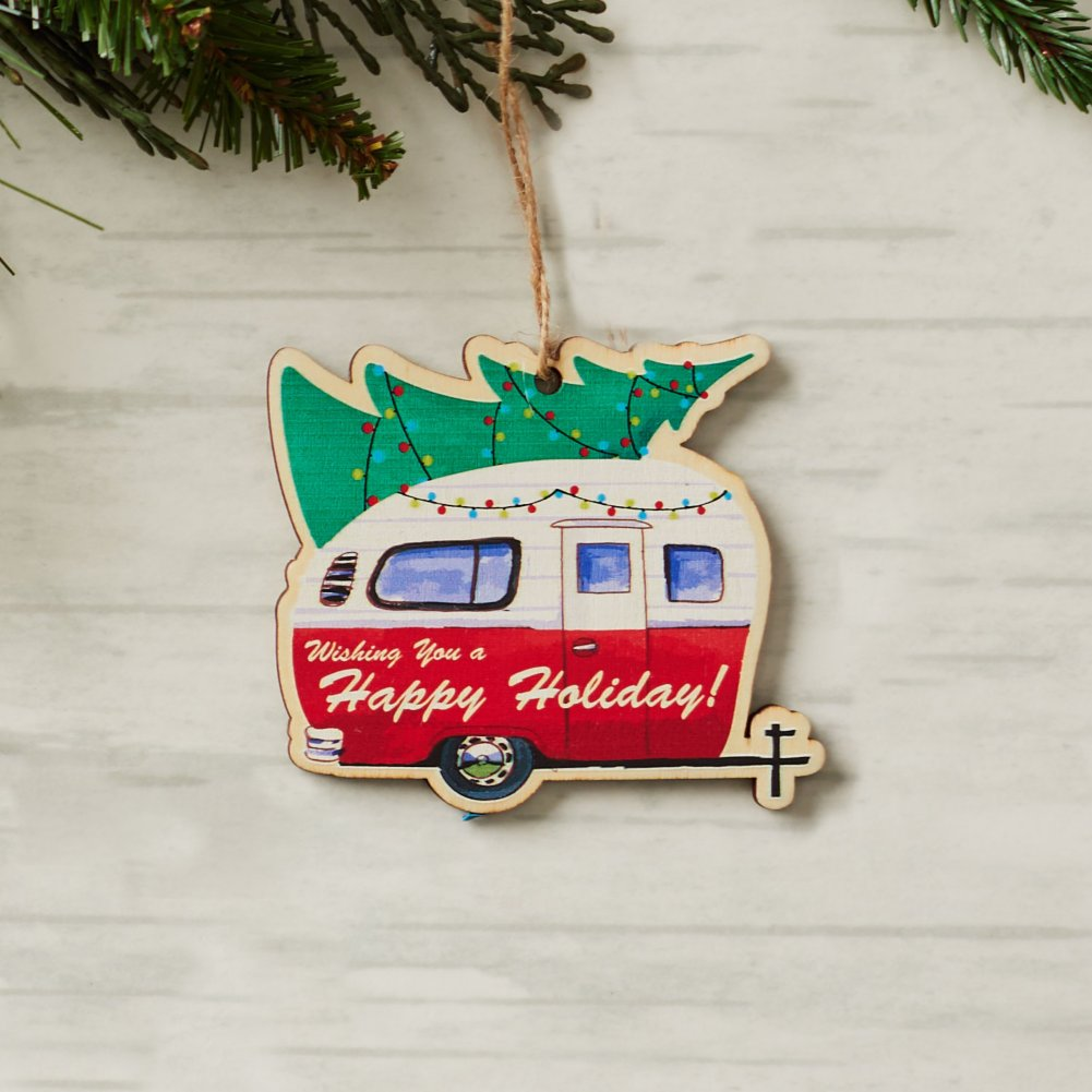 View larger image of Classic Wooden Ornament - Holiday Camper