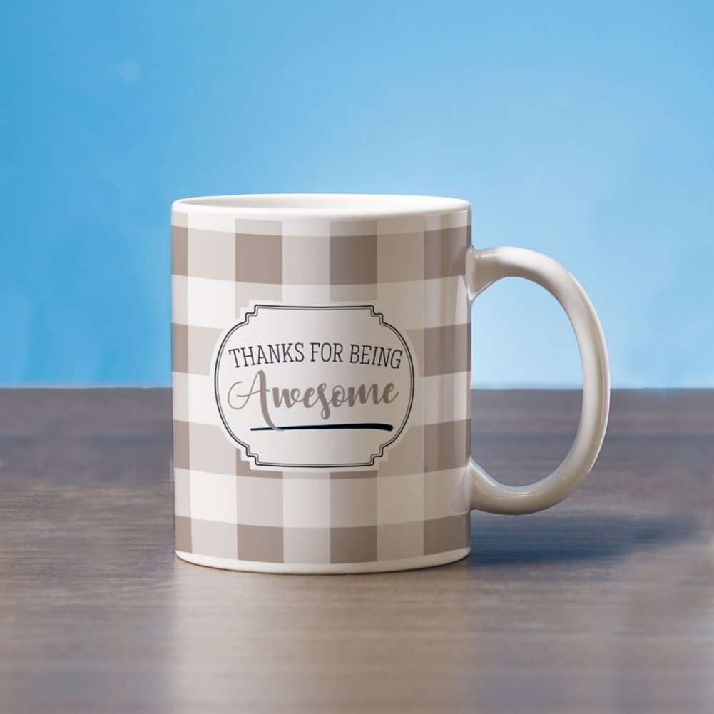 View larger image of Classic Buffalo Check Mug - Thanks for Being Awesome