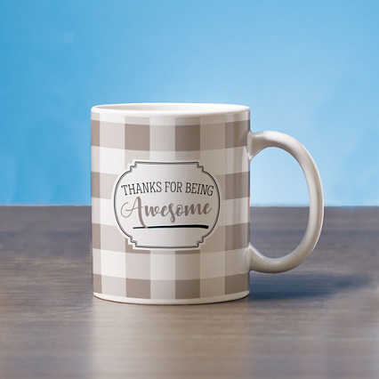 Classic Buffalo Check Mug - Thanks for Being Awesome