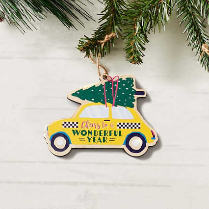 Classic Wooden Ornament - Cheers to a Wonderful Year