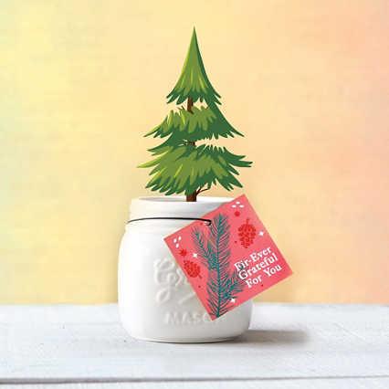 Petite Mason Jar Planter - Fir-Ever Grateful for You