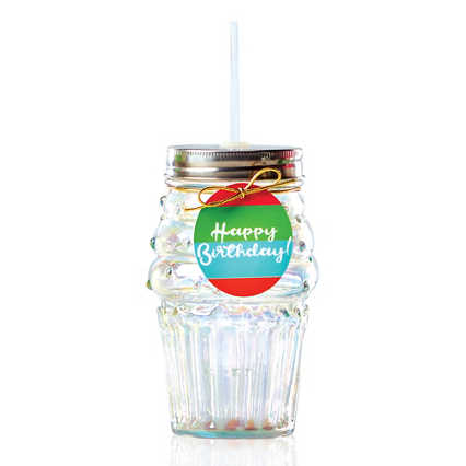 Shimmering Cupcake Tumbler - Happy Birthday!