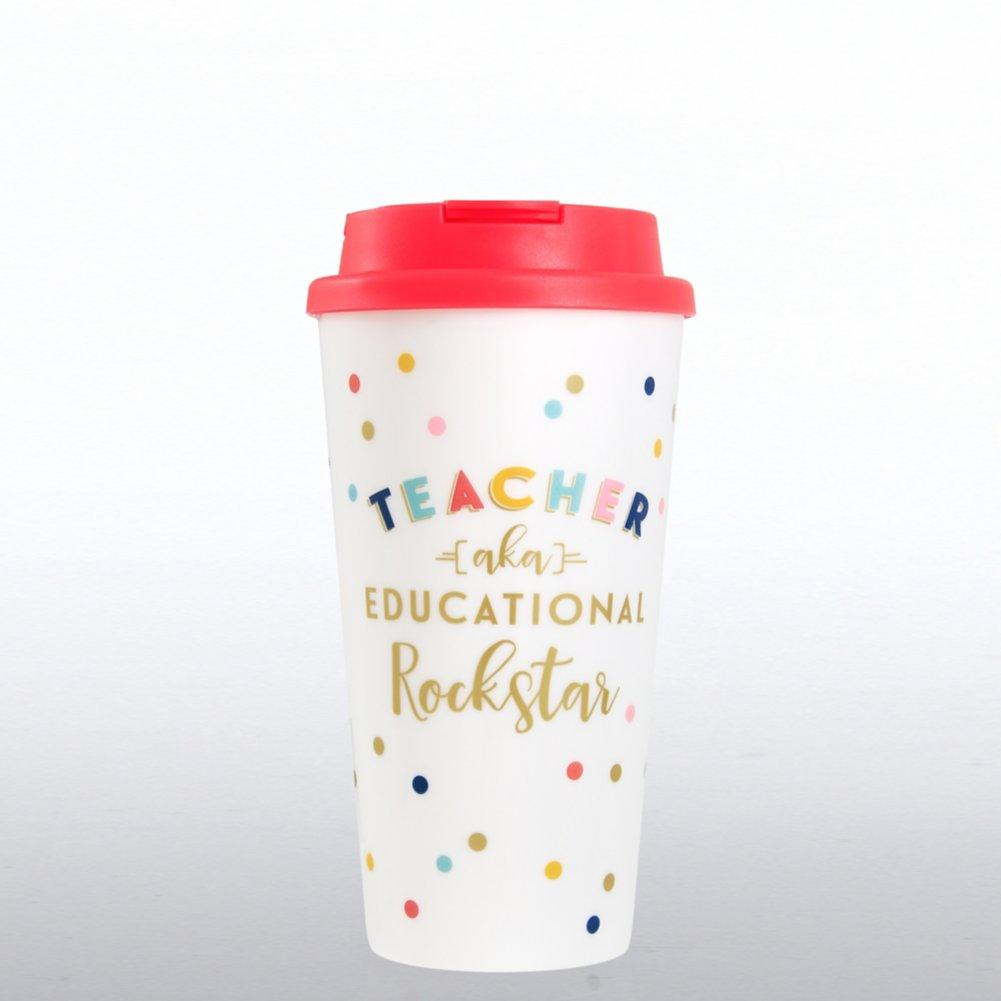 Cheerful Travel Mug - Teacher AKA Educational Rockstar