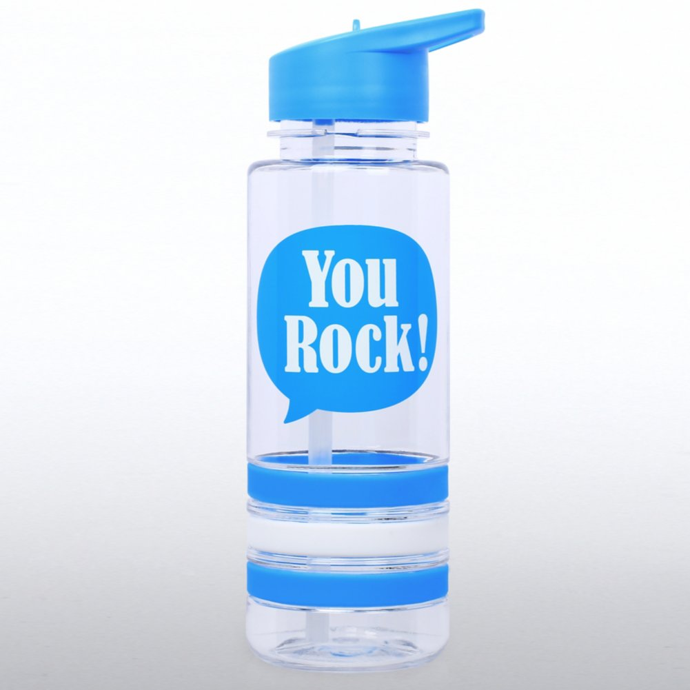 View larger image of Color Band Flip Top Water Bottle - You Rock