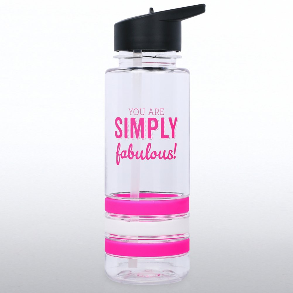 View larger image of Color Band Flip Top Water Bottle - You're Simply Fabulous