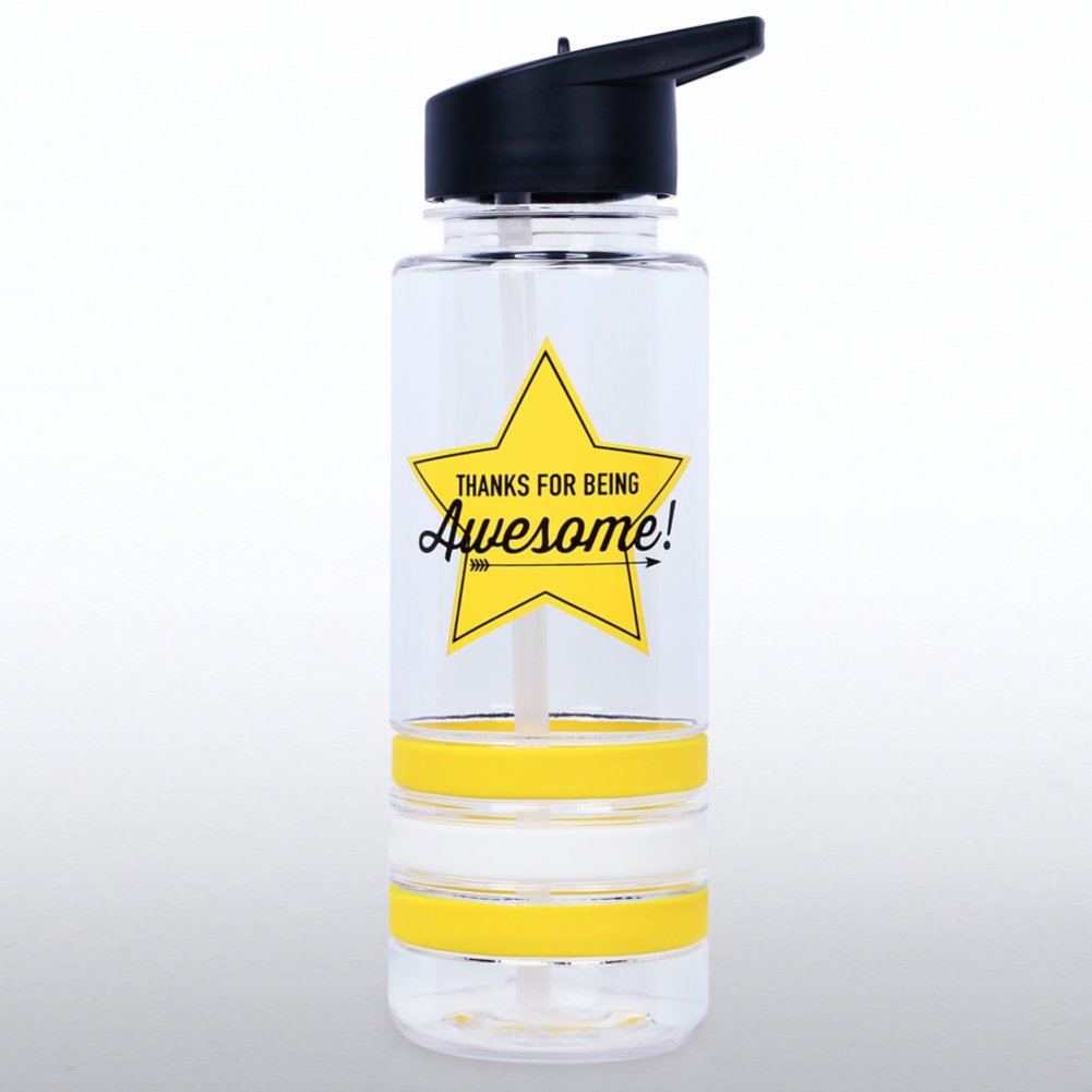 Color Band Flip Top Water Bottle - Thanks for Being Awesome