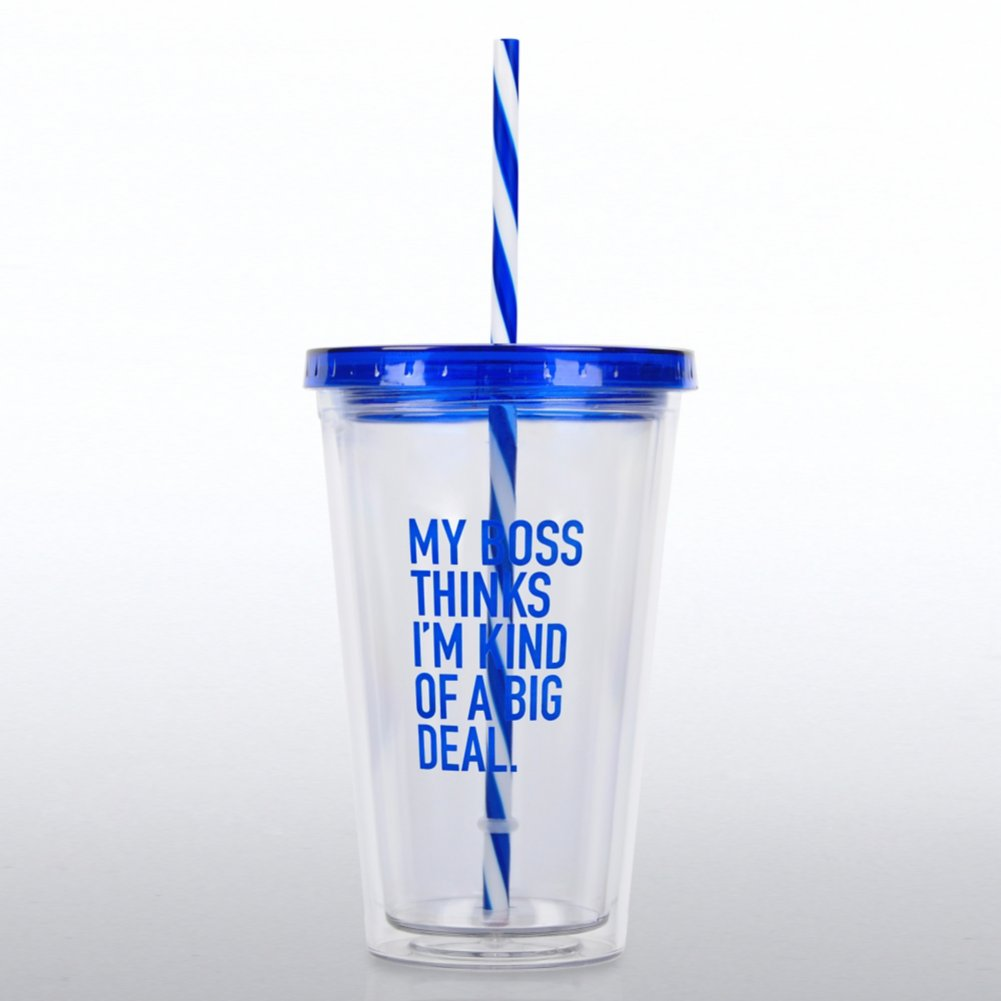 View larger image of Clear Tumbler w/ Candy Striped Straw - My Boss Thinks...
