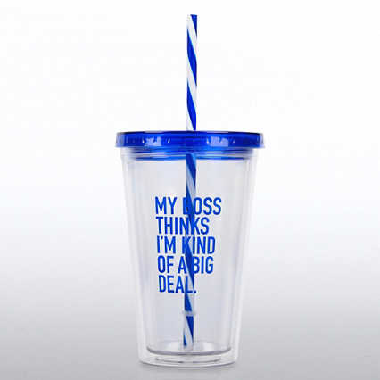 Clear Tumbler w/ Candy Striped Straw - My Boss Thinks...
