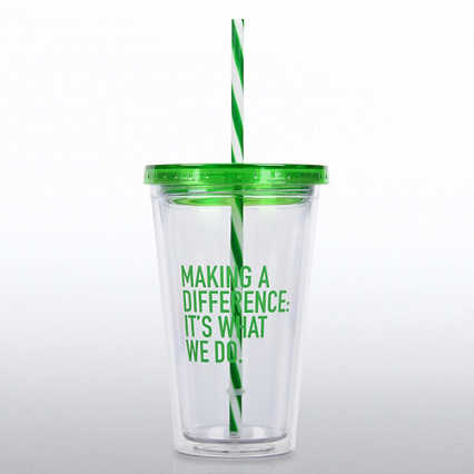 Clear Tumbler w/ Candy Striped Straw - MAD: It's What We Do