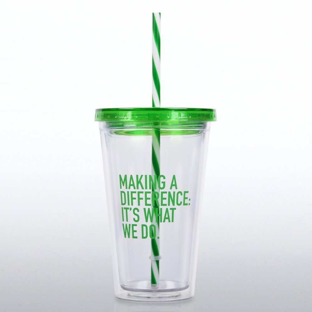 View larger image of Clear Tumbler w/ Candy Striped Straw - MAD: It's What We Do