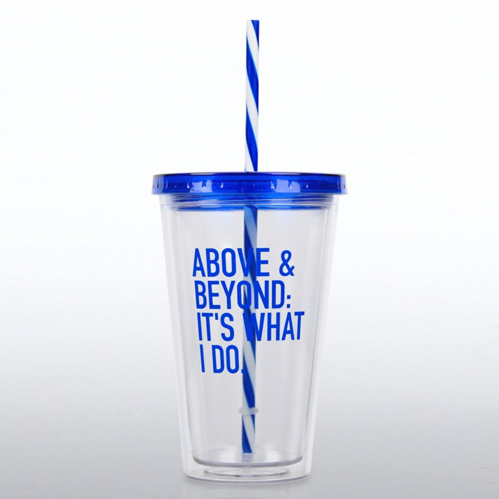 View larger image of Clear Tumbler w/ Candy Striped Straw - Above & Beyond