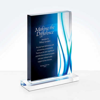 Acrylic Art Deco Trophy in Blue Wave - Medium