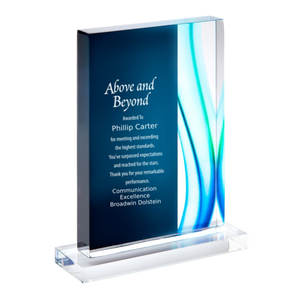 View larger image of Acrylic Art Deco Trophy in Blue Wave - Medium