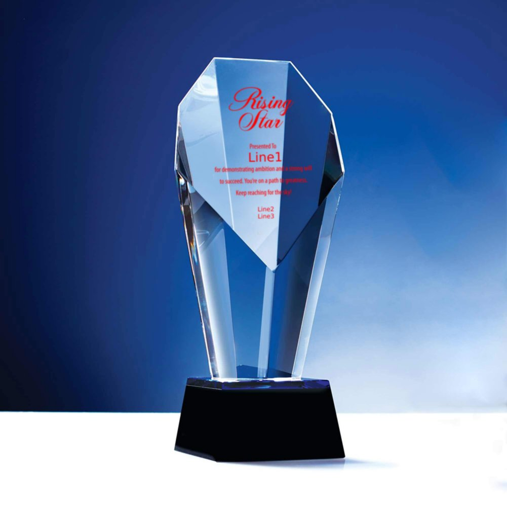 Spotlight Crystal Trophy with Blue Accent