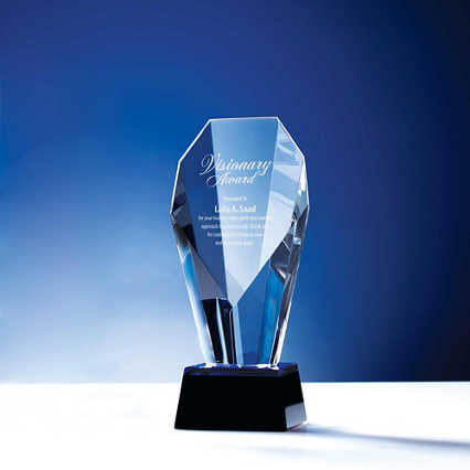 Spotlight Crystal Trophy with Blue Accent - Small