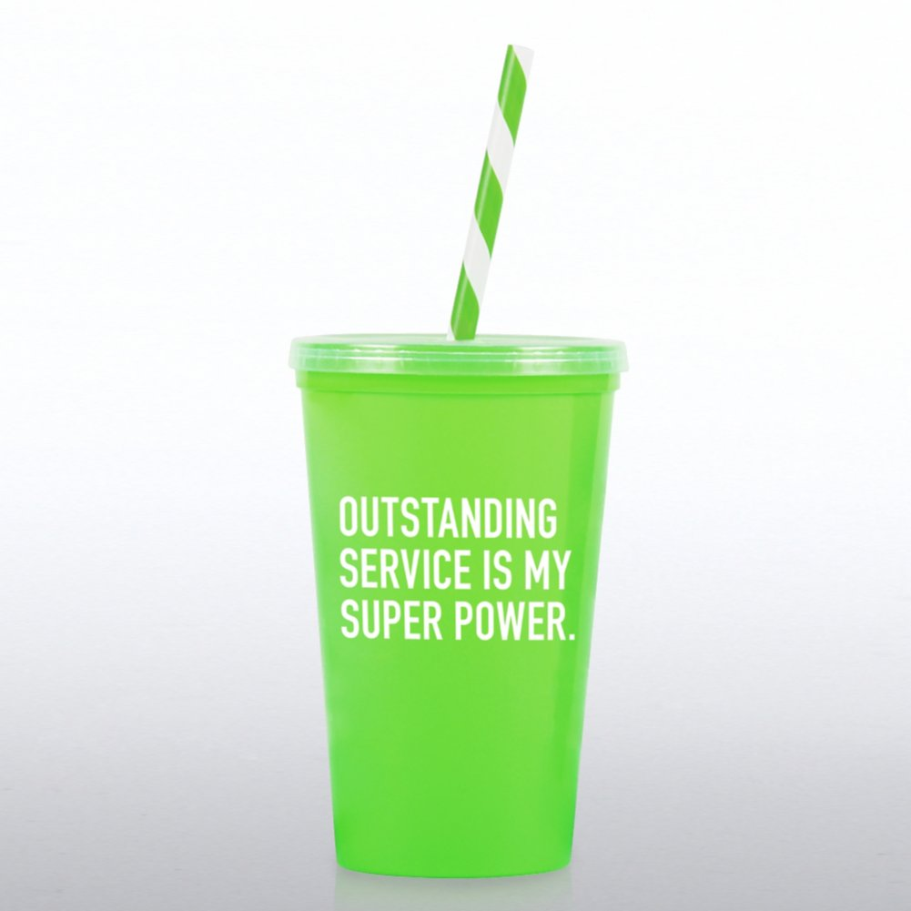 Value Tumbler W/ Candy Straw - Outstanding Service