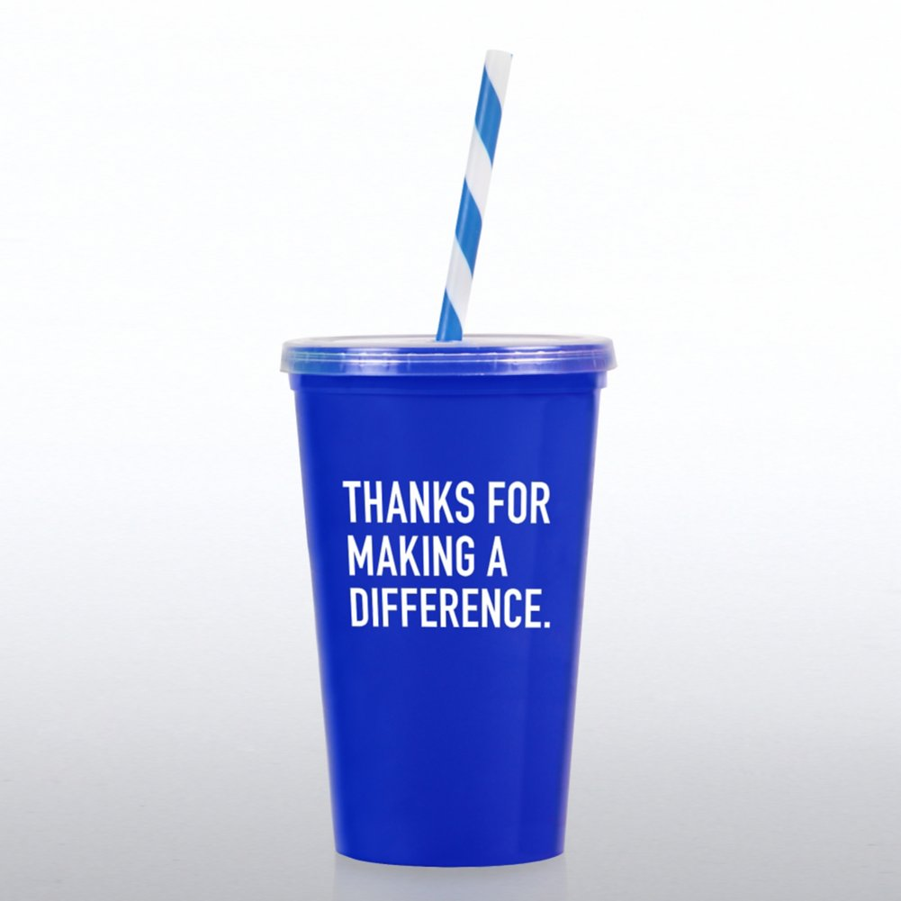 View larger image of Value Tumbler W/ Candy Straw - Thanks for MAD