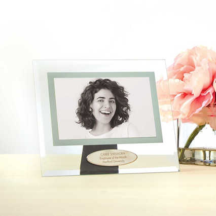 Glass Photo Frame with Engravable Metal Emblem