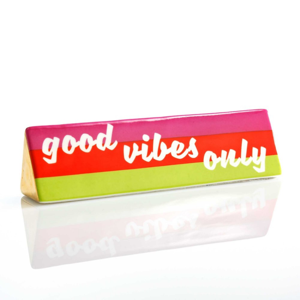 View larger image of Make a Statement Ceramic Desk Sign - Good Vibes Only