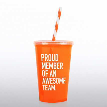 Value Tumbler w/ Candy Striped Straw - Proud Member of...