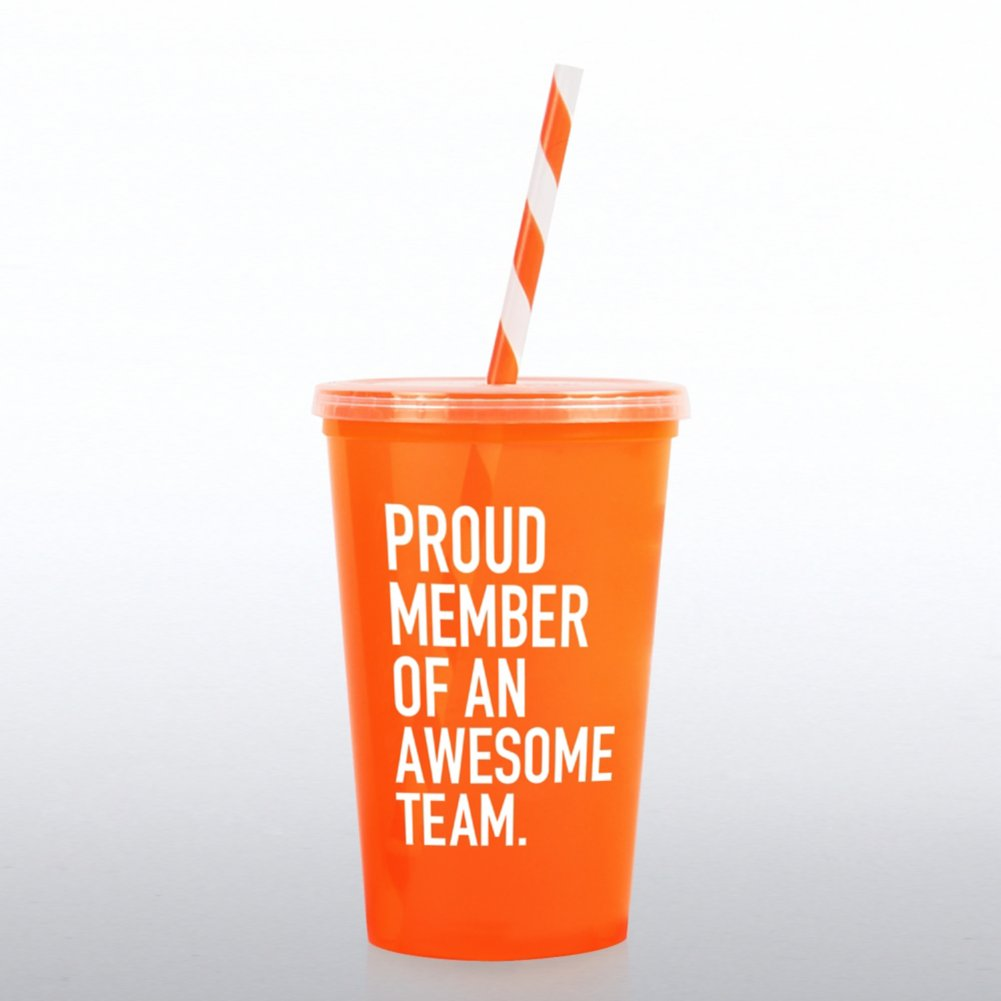 View larger image of Value Tumbler w/ Candy Striped Straw - Proud Member of...