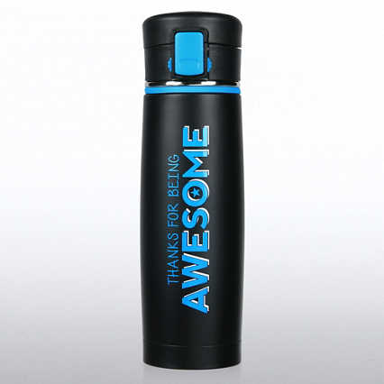 Matte Black Stainless Steel Travel Mug - Thanks for Being