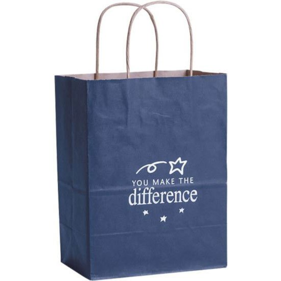View larger image of Kraft Paper Gift Bag - You Make the Difference Blue
