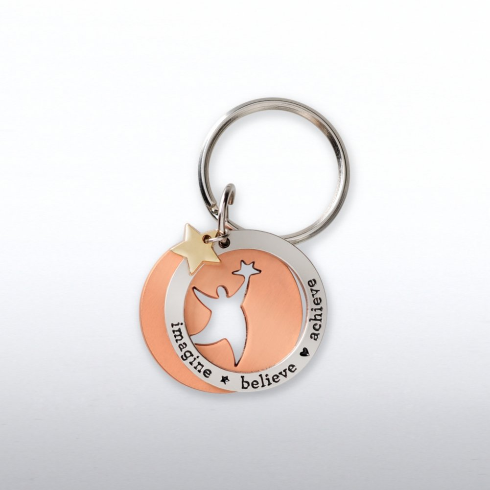 View larger image of Charming Copper Keychain - Imagine Believe Achieve