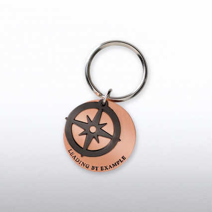 Charming Copper Keychain - Compass: Leading by Example