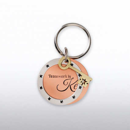 Charming Copper Keychain - Key: Teamwork is Key