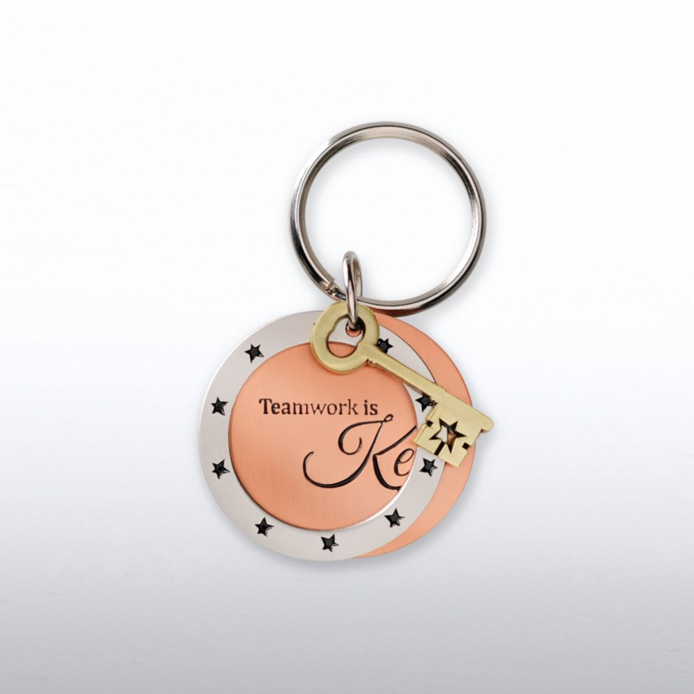 View larger image of Charming Copper Keychain - Key: Teamwork is Key