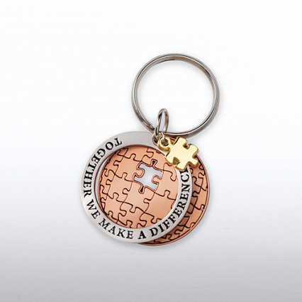 Charming Copper Keychain - Together We Make a Difference