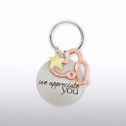 Charming Copper Key Chain - Stethoscope: We Appreciate You