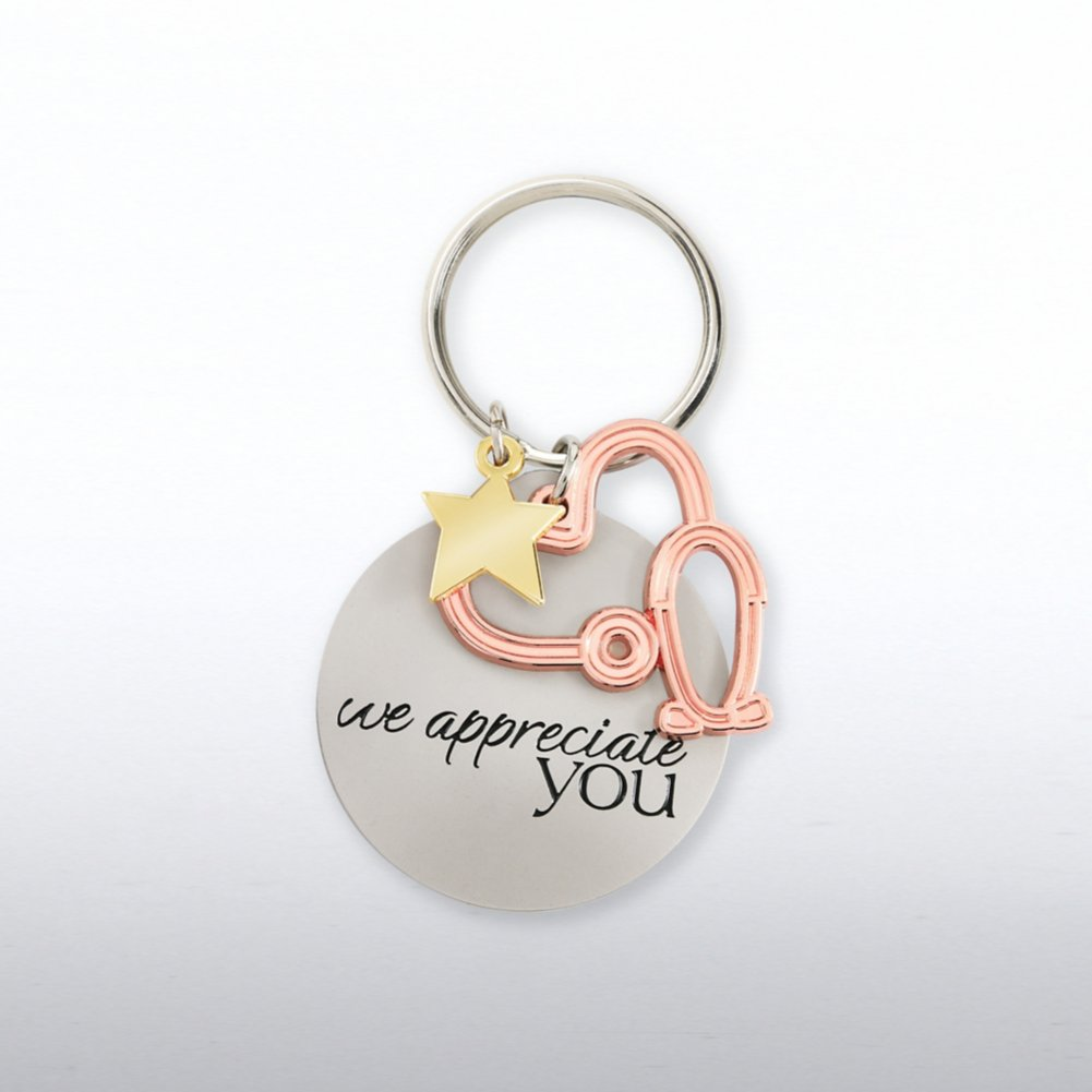 View larger image of Charming Copper Key Chain - Stethoscope: We Appreciate You