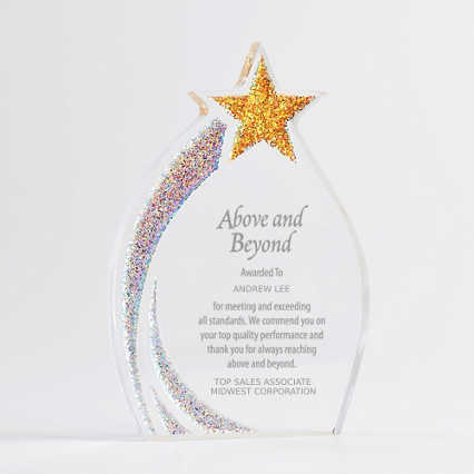 Shimmering Acrylic Award - Star Flame