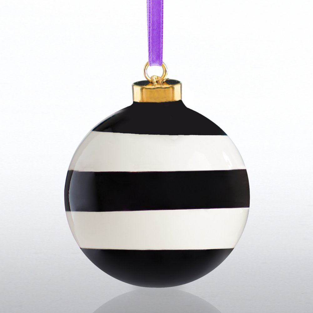 View larger image of Holiday Cheer Ceramic Bulb - Happy Holidays - Stripes