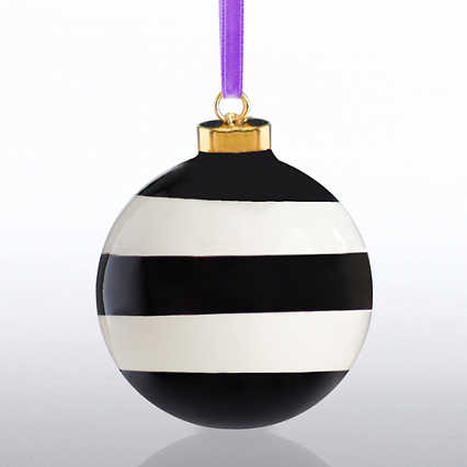 Holiday Cheer Ceramic Bulb - Happy Holidays - Stripes